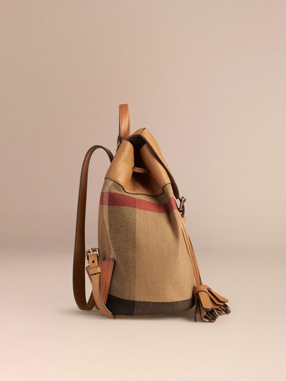 Canvas Check Backpack in Sand | Burberry - cell image 2