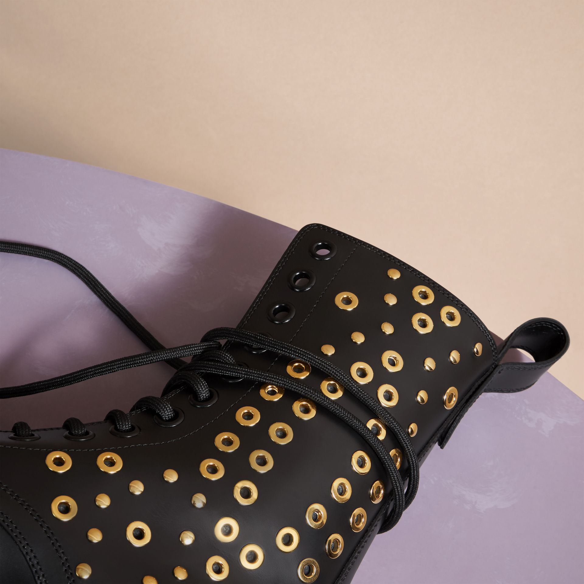 Black Eyelet and Rivet Detail Leather Army Boots - gallery image 2