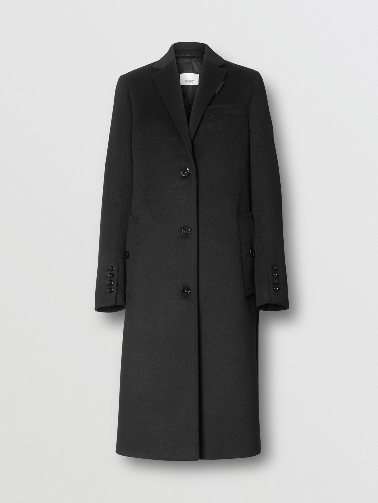 Wool Cashmere Tailored Coat (Black)