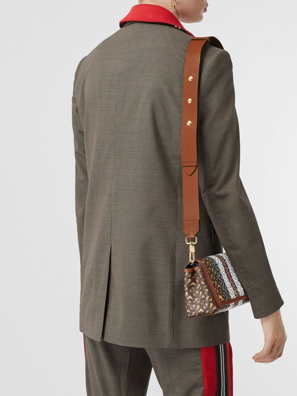 Small Monogram Stripe E-canvas Crossbody Bag in Bridle Brown - Women | Burberry - cell image 2