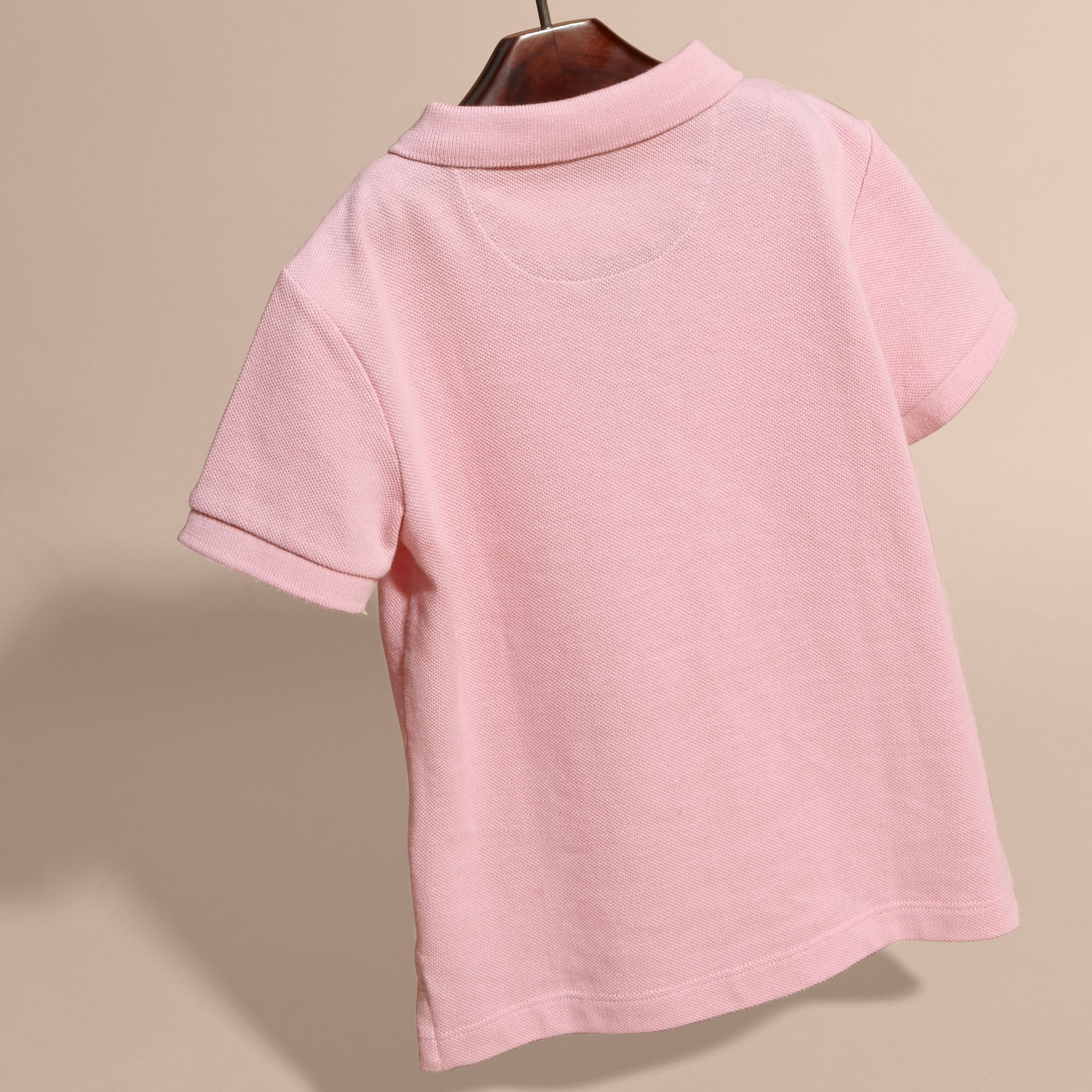 Check Placket Polo Shirt in Light Pink - Boy | Burberry - gallery image 4