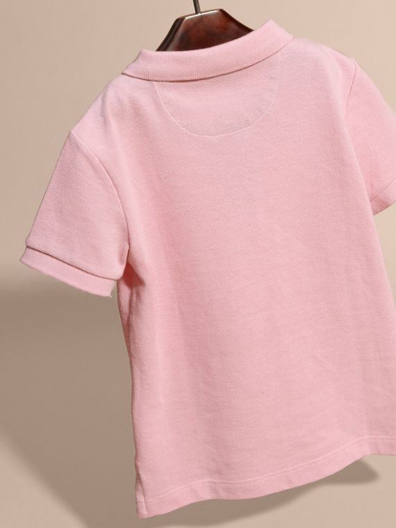 Check Placket Polo Shirt in Light Pink - Boy | Burberry - cell image 3