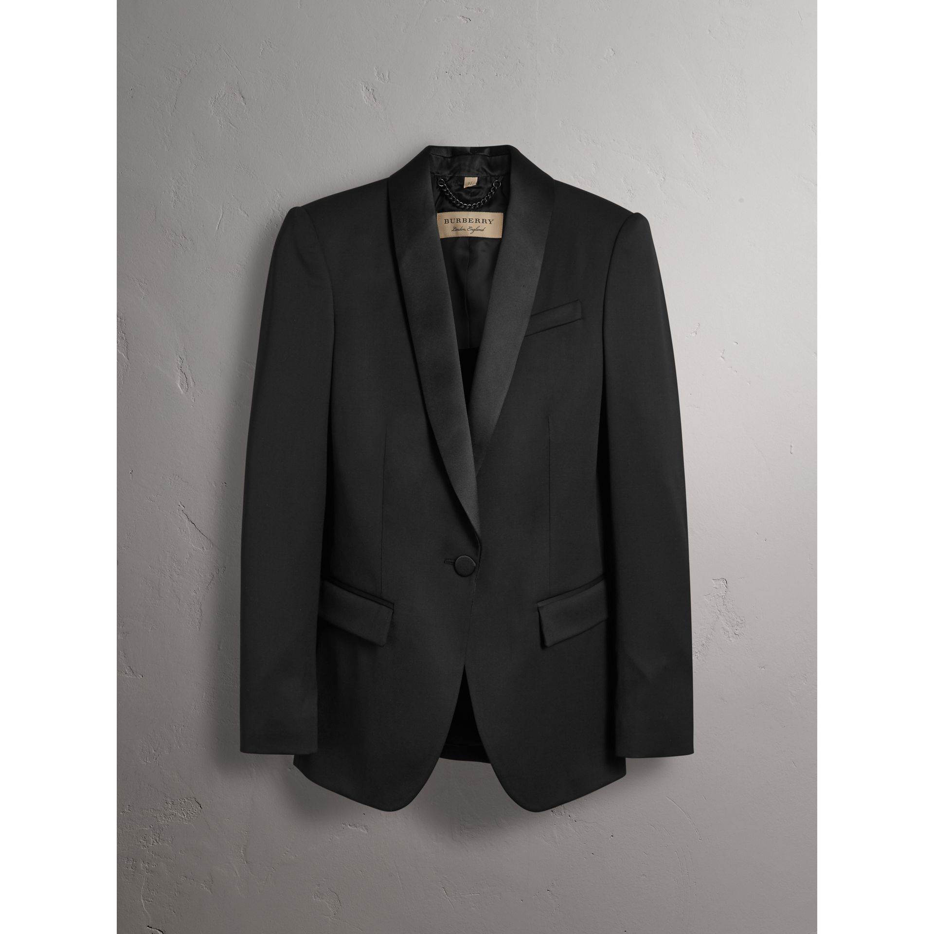 Stretch Wool Tuxedo Jacket in Black - Women | Burberry - gallery image 4