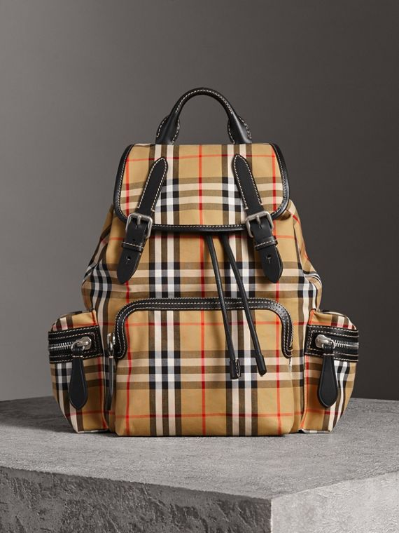 The Medium Rucksack in Vintage Check and Leather in Antique Yellow