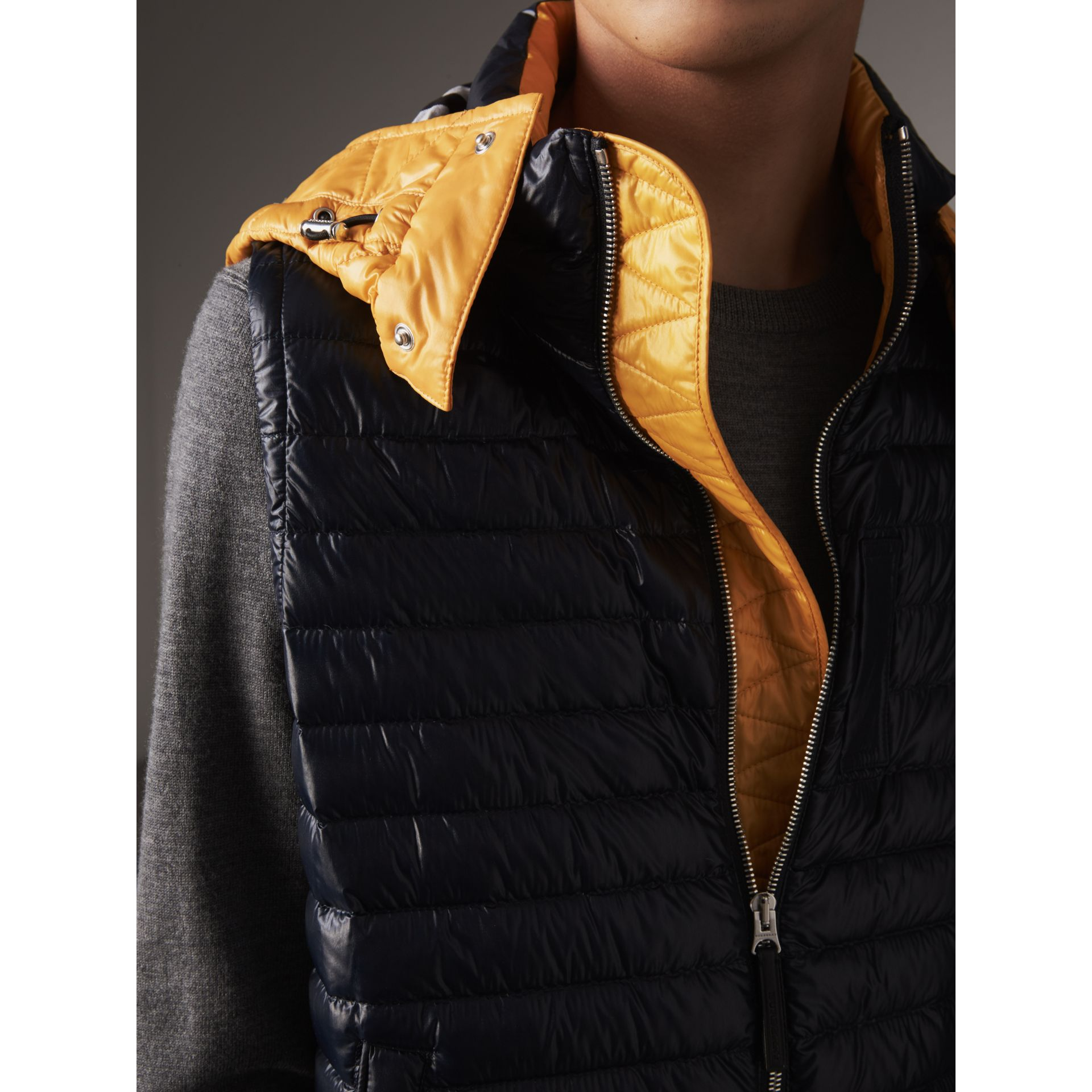 Detachable Hood Packaway Goose-down Gilet in Navy - Men | Burberry - gallery image 2