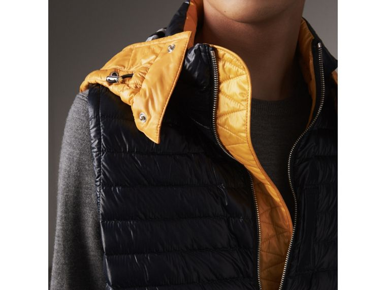 Detachable Hood Packaway Goose-down Gilet in Navy - Men | Burberry - cell image 1