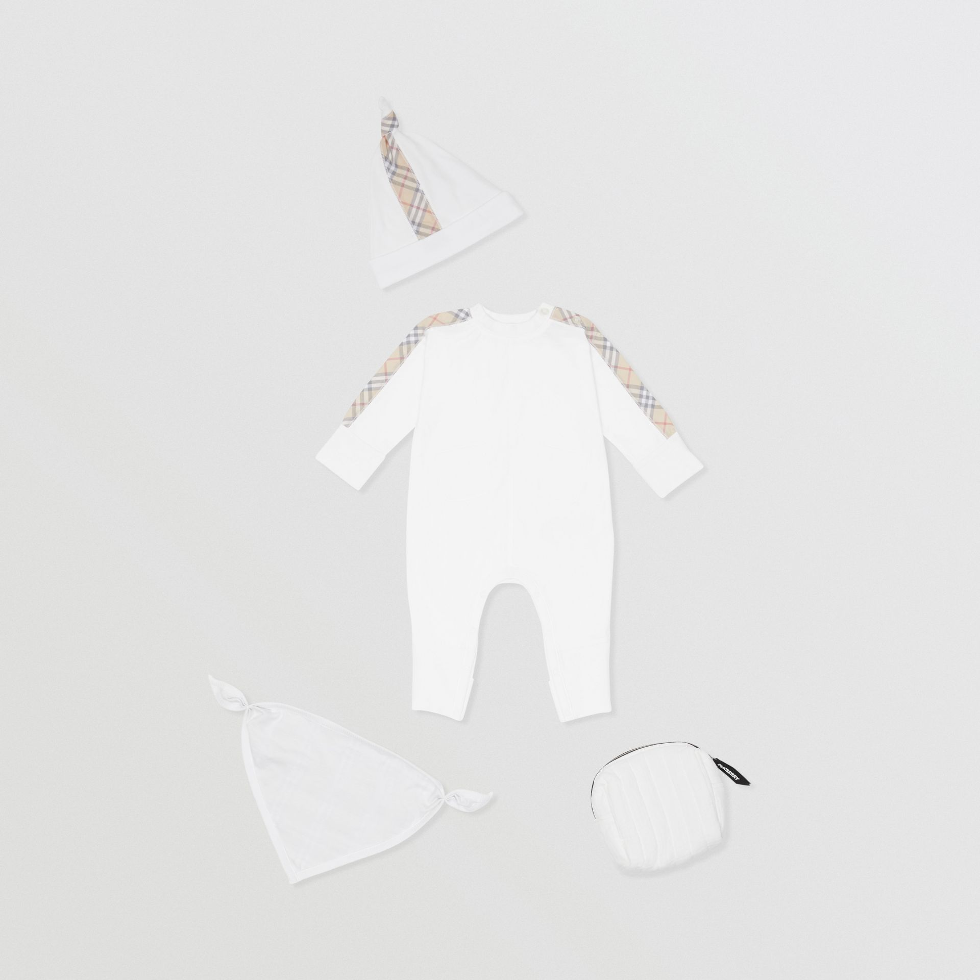Check Cotton Three-piece Baby Gift Set in White - Children | Burberry Singapore - gallery image 0