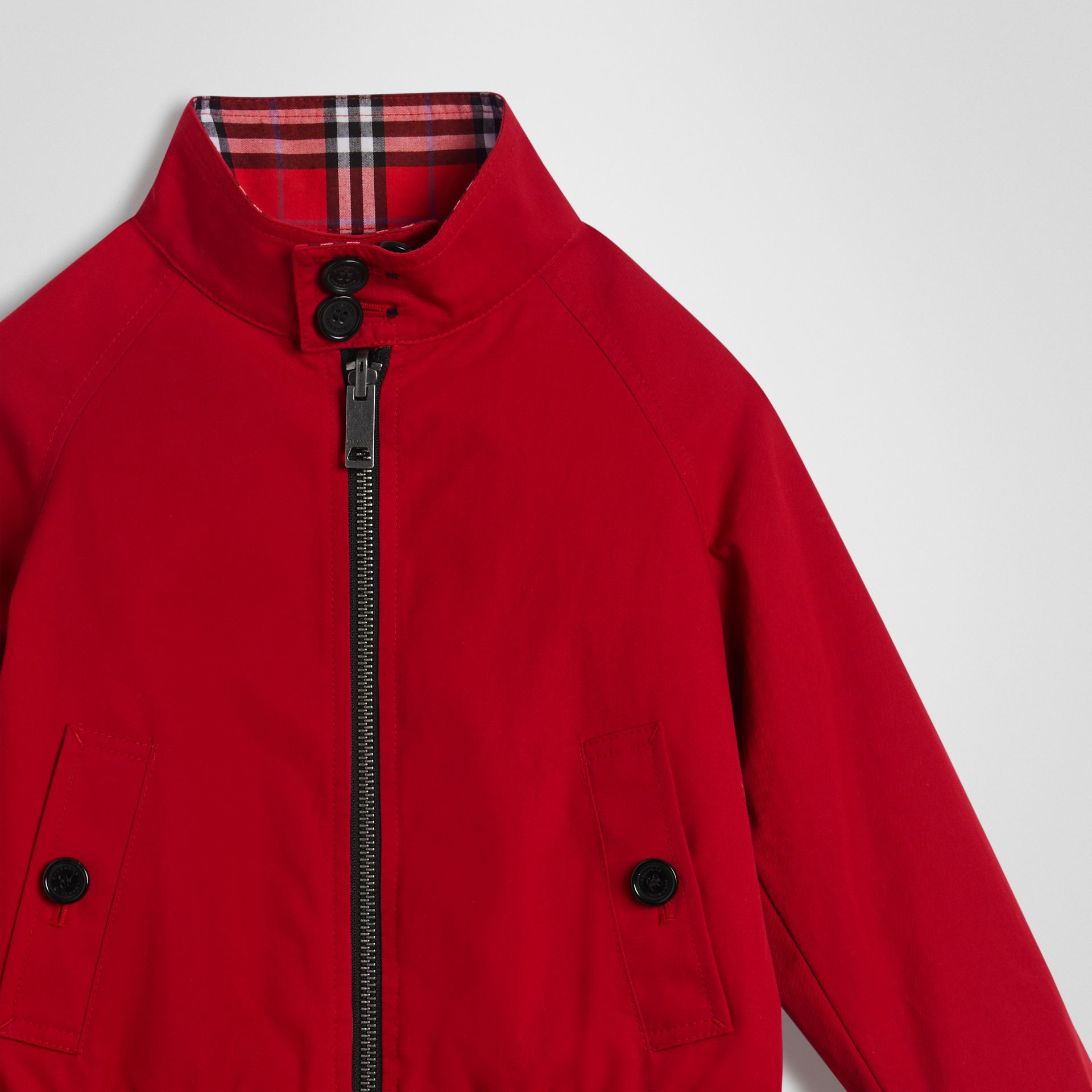 Reversible Check Cotton Harrington Jacket in Bright Red | Burberry - gallery image 3