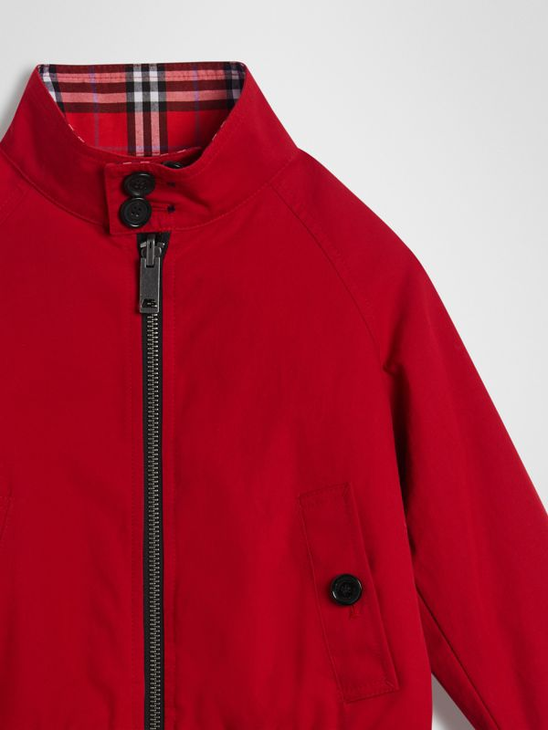 Reversible Check Cotton Harrington Jacket in Bright Red | Burberry - cell image 3
