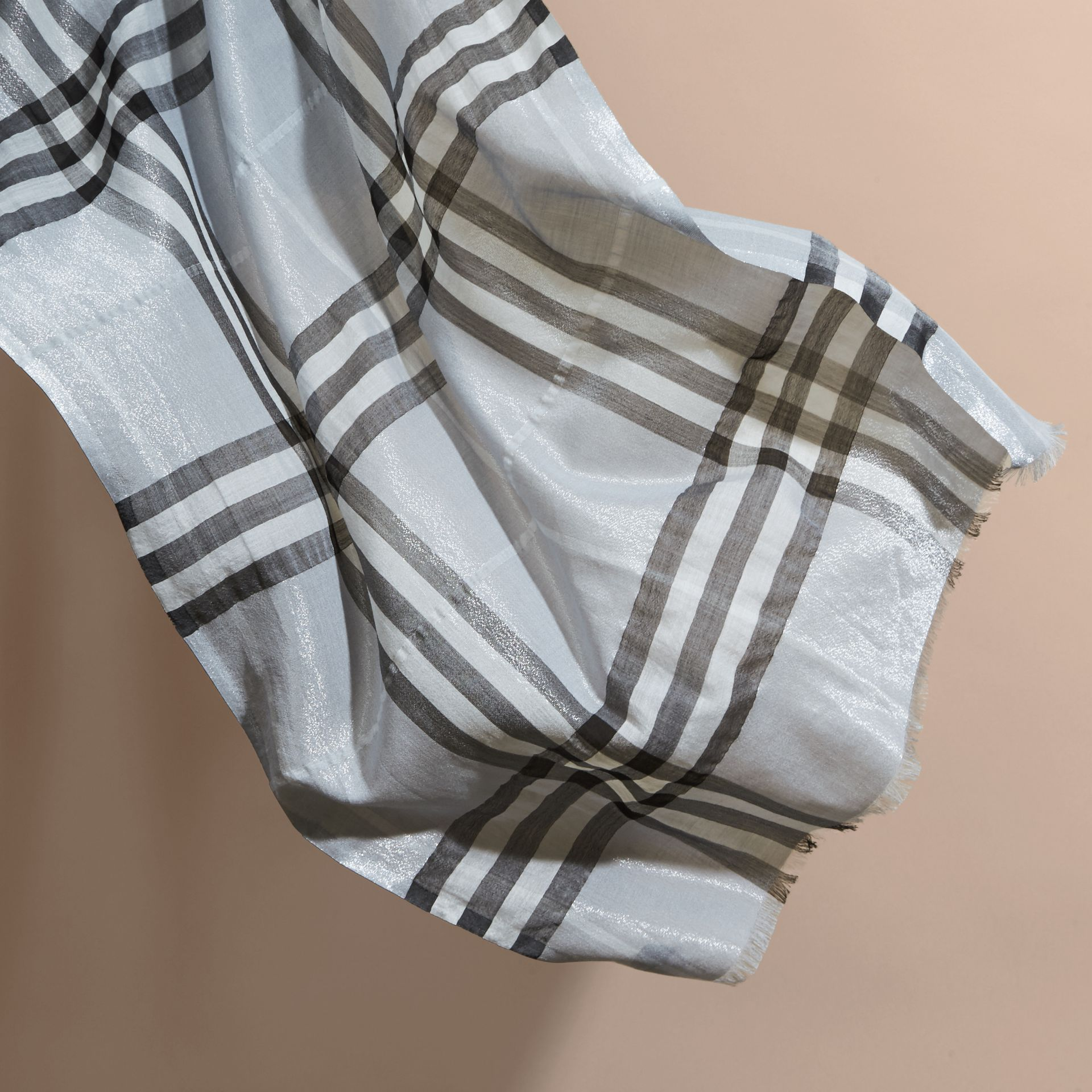 Metallic Check Silk and Wool Scarf in Dusty Blue/silver - Women | Burberry - gallery image 4