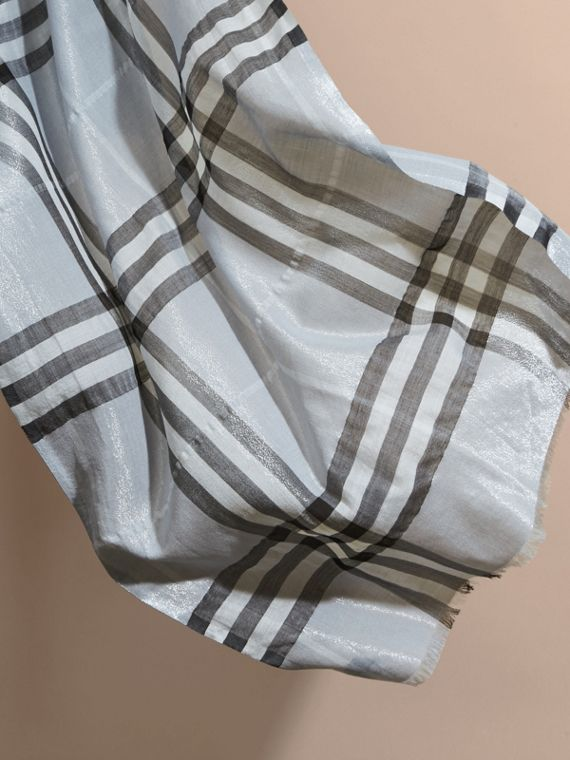 Metallic Check Silk and Wool Scarf in Dusty Blue/silver - Women | Burberry - cell image 3