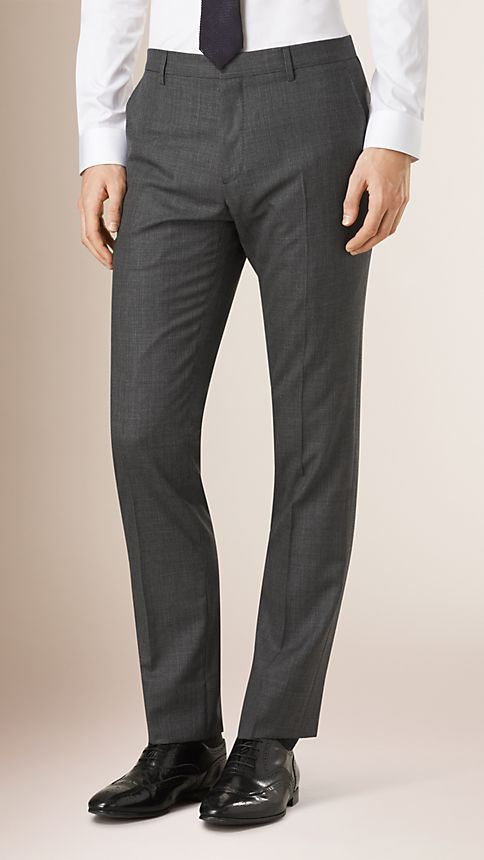 Mid grey melange Modern Fit Wool Cashmere Microcheck Part-canvas Suit - Image 5