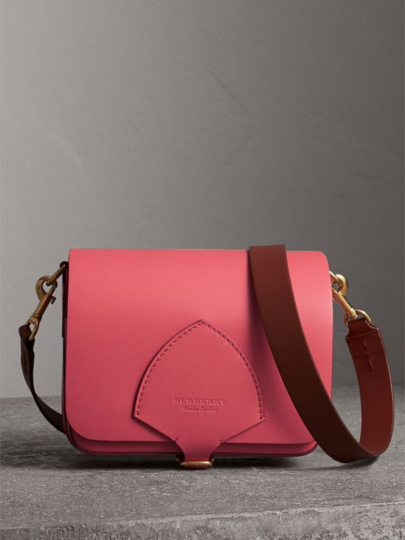 The Square Satchel in Leather in Bright Peony