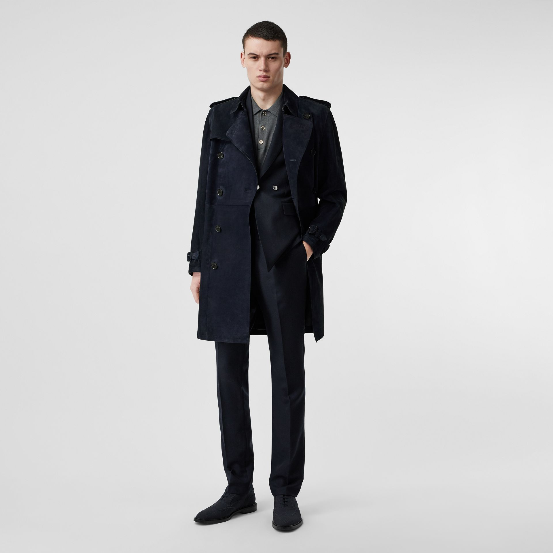 Suede Trench Coat in Navy - Men | Burberry - gallery image 0