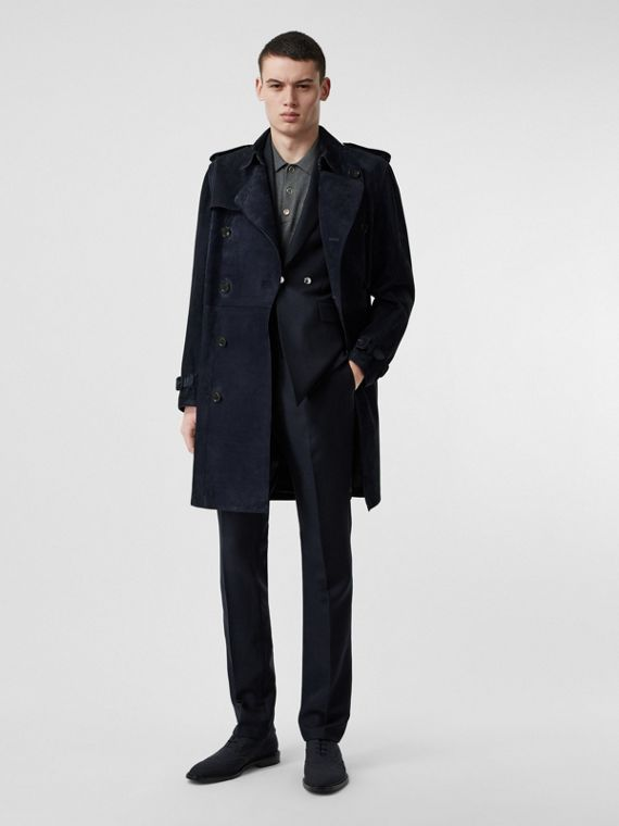 Suede Trench Coat in Navy