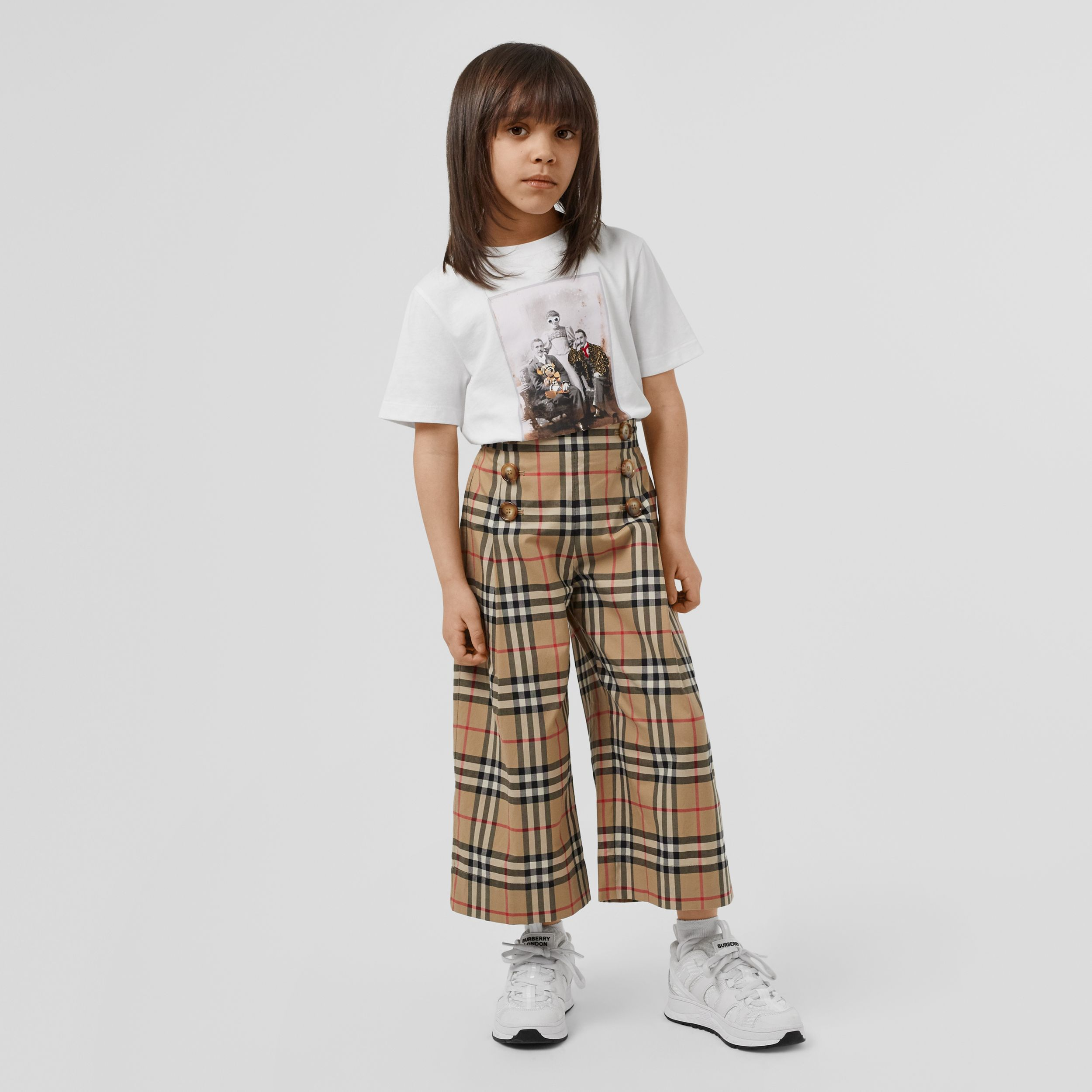 Vintage Check Cotton Sailor Trousers in Archive Beige | Burberry - 3