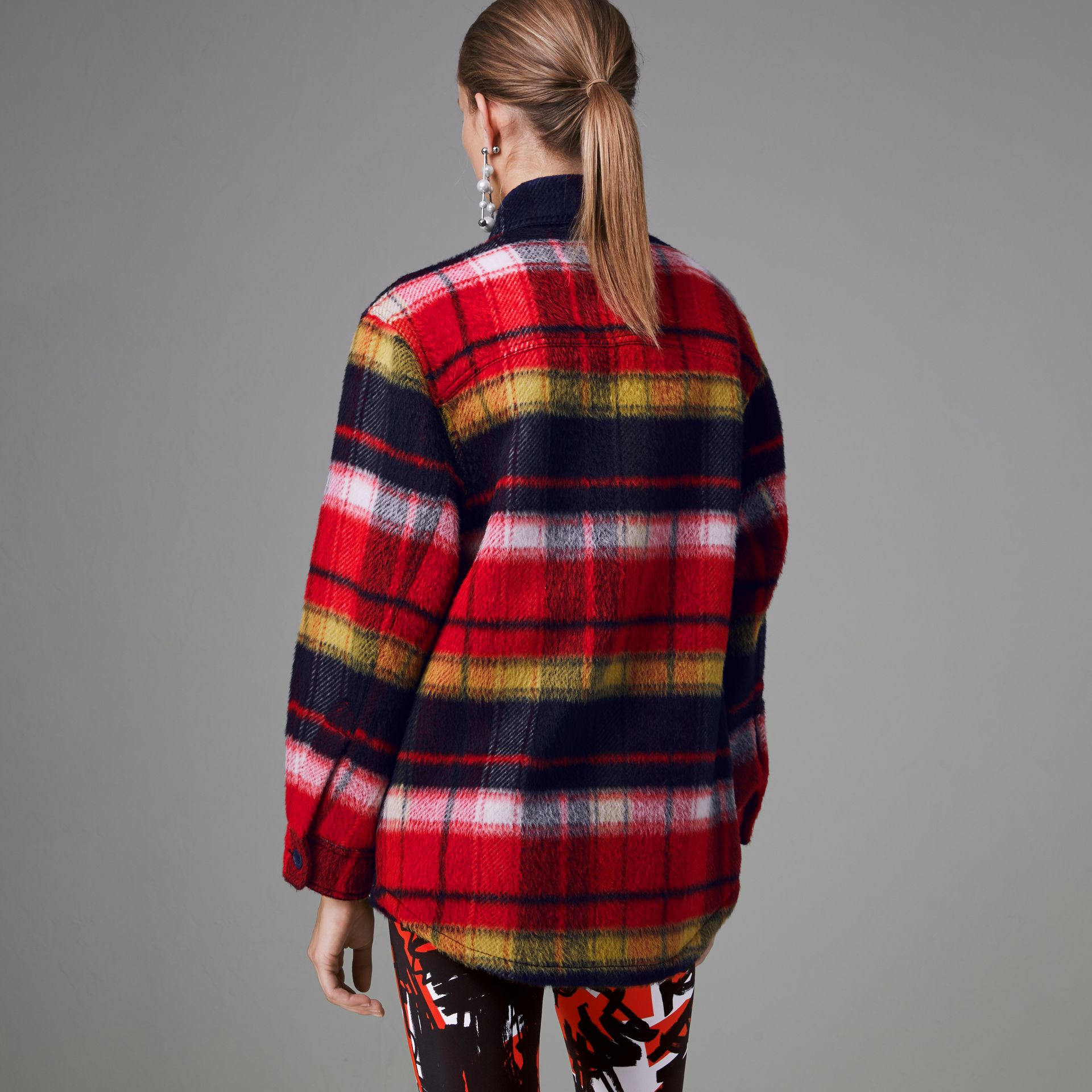 Check Alpaca Wool Jacket in Bright Navy - Women | Burberry - gallery image 2