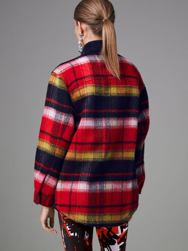 Check Alpaca Wool Jacket in Bright Navy - Women | Burberry Hong Kong - cell image 2