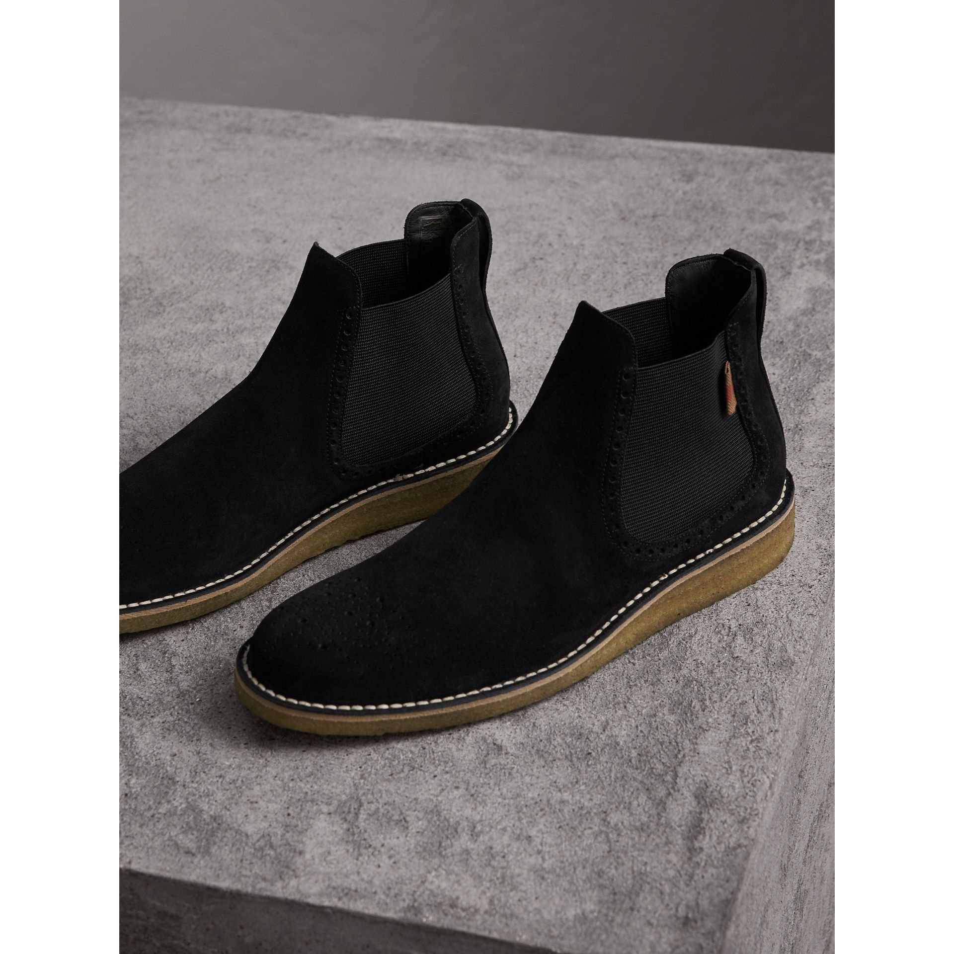 Brogue Detail Suede Chelsea Boots in Black - Men | Burberry United Kingdom - gallery image 5