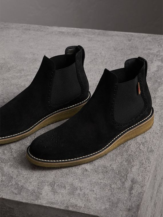 Brogue Detail Suede Chelsea Boots in Black - Men | Burberry Australia - cell image 3