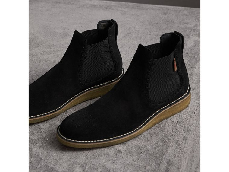 Brogue Detail Suede Chelsea Boots in Black - Men | Burberry United Kingdom - cell image 4