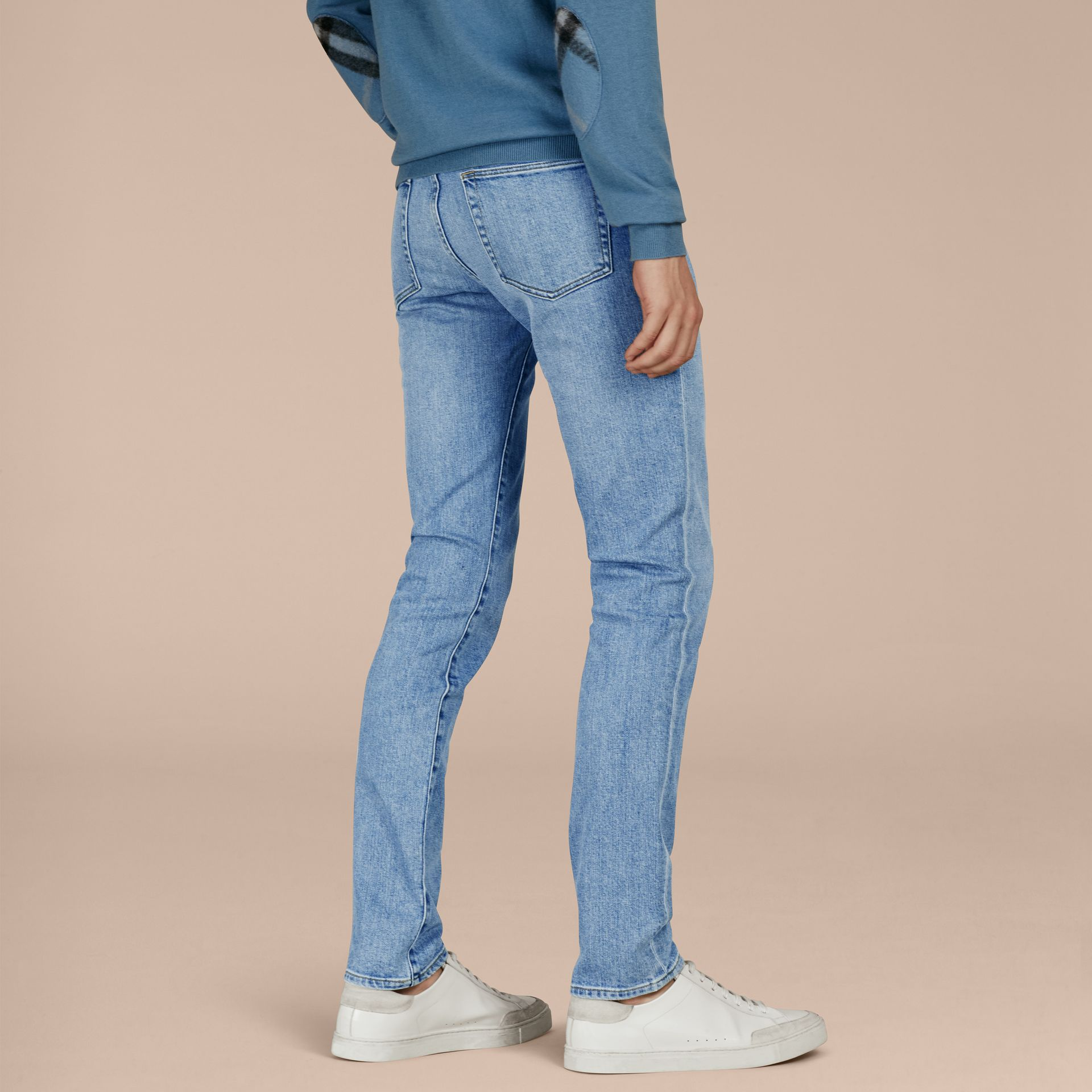 Light indigo Slim Fit Comfort Stretch Japanese Denim Jeans - gallery image 3