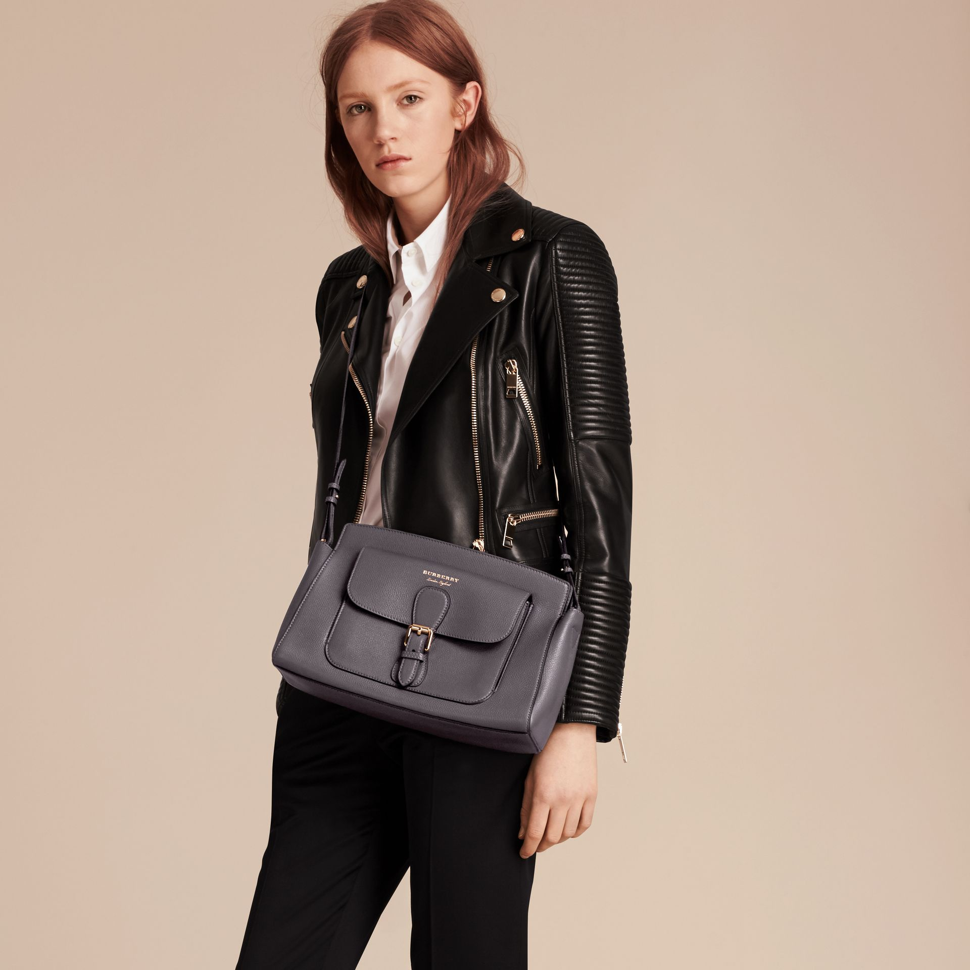Sepia grey The Saddle Clutch in Grainy Bonded Leather Sepia Grey - gallery image 3