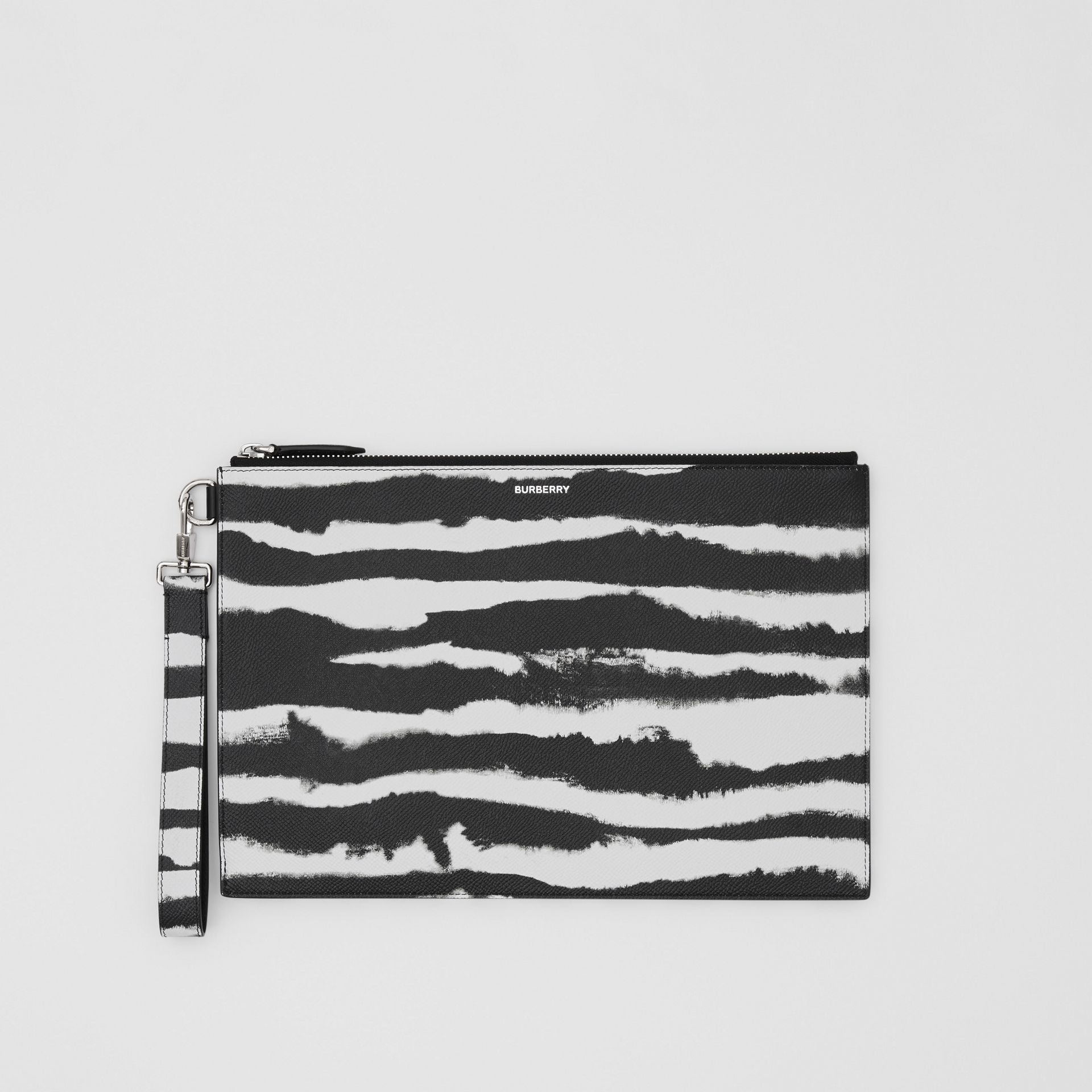 Watercolour Print Leather Zip Pouch in Black/white | Burberry - gallery image 0