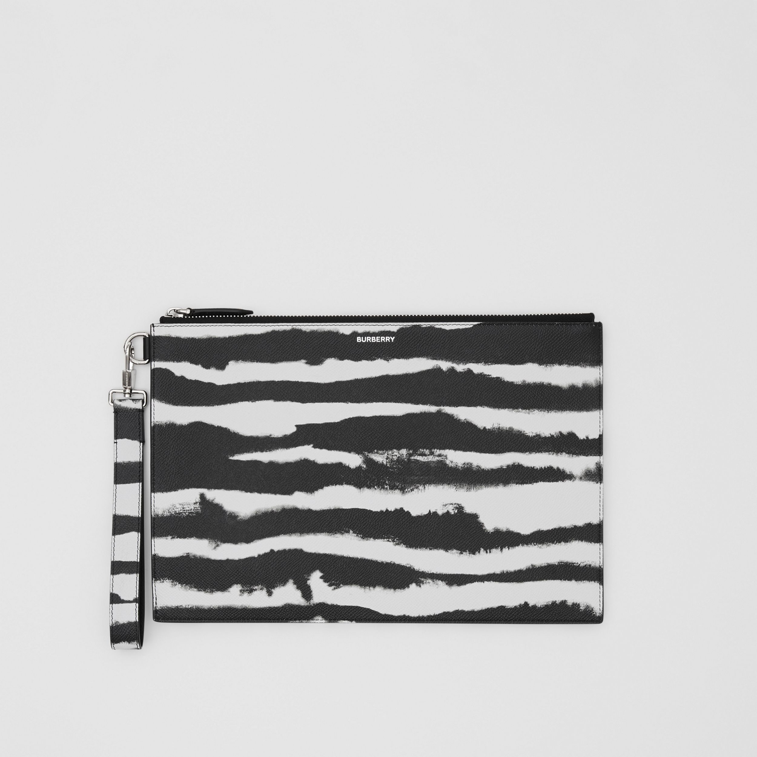 Watercolour Print Leather Zip Pouch in Black/white | Burberry - 1