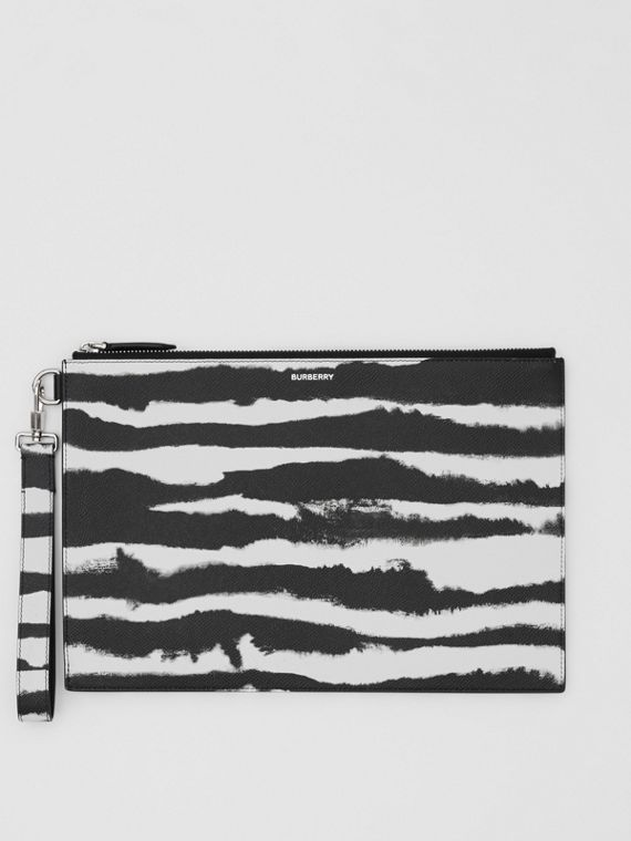 Watercolour Print Leather Zip Pouch in Black/white