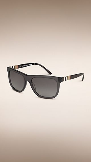 Square Frame Check Detail Sunglasses