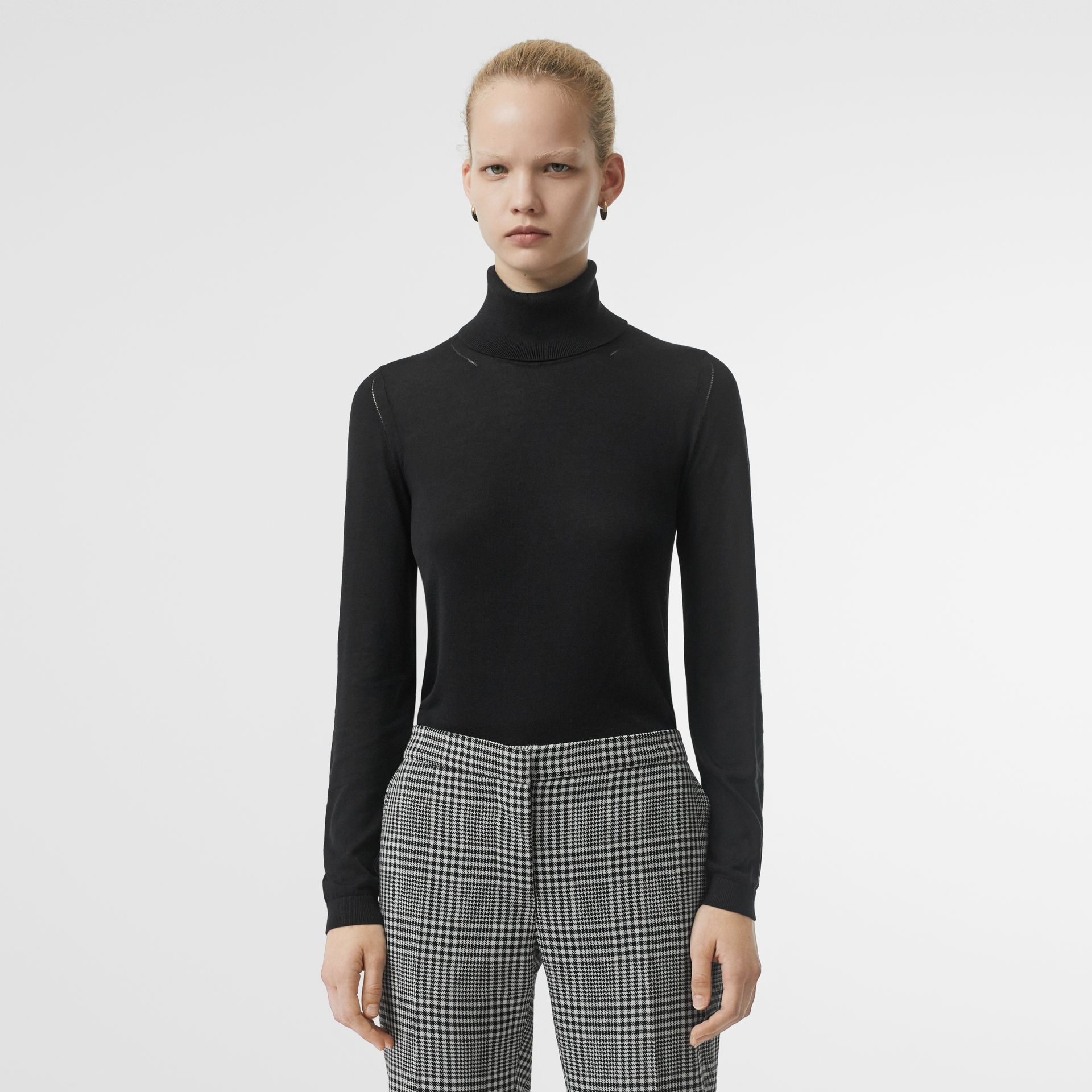 Silk Cashmere Roll-neck Sweater in Black - Women | Burberry Canada - gallery image 0
