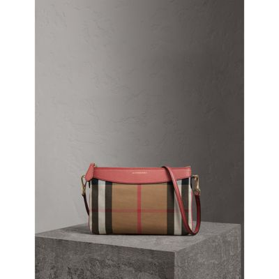 Haymarket Check And Two-Tone Leather Clutch Bag, Cinnamon Red