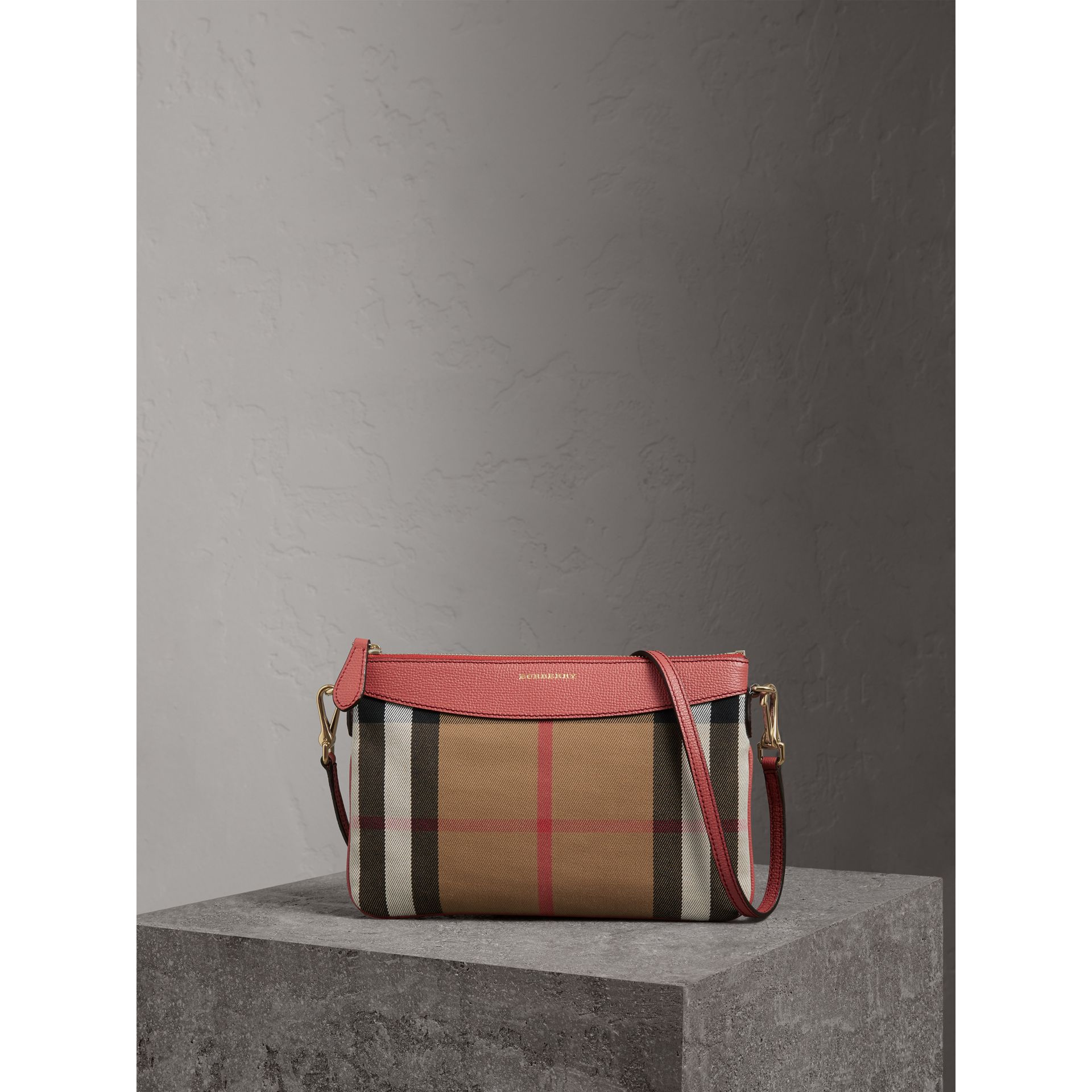 House Check and Leather Clutch Bag in Cinnamon Red - Women | Burberry Australia - gallery image 0