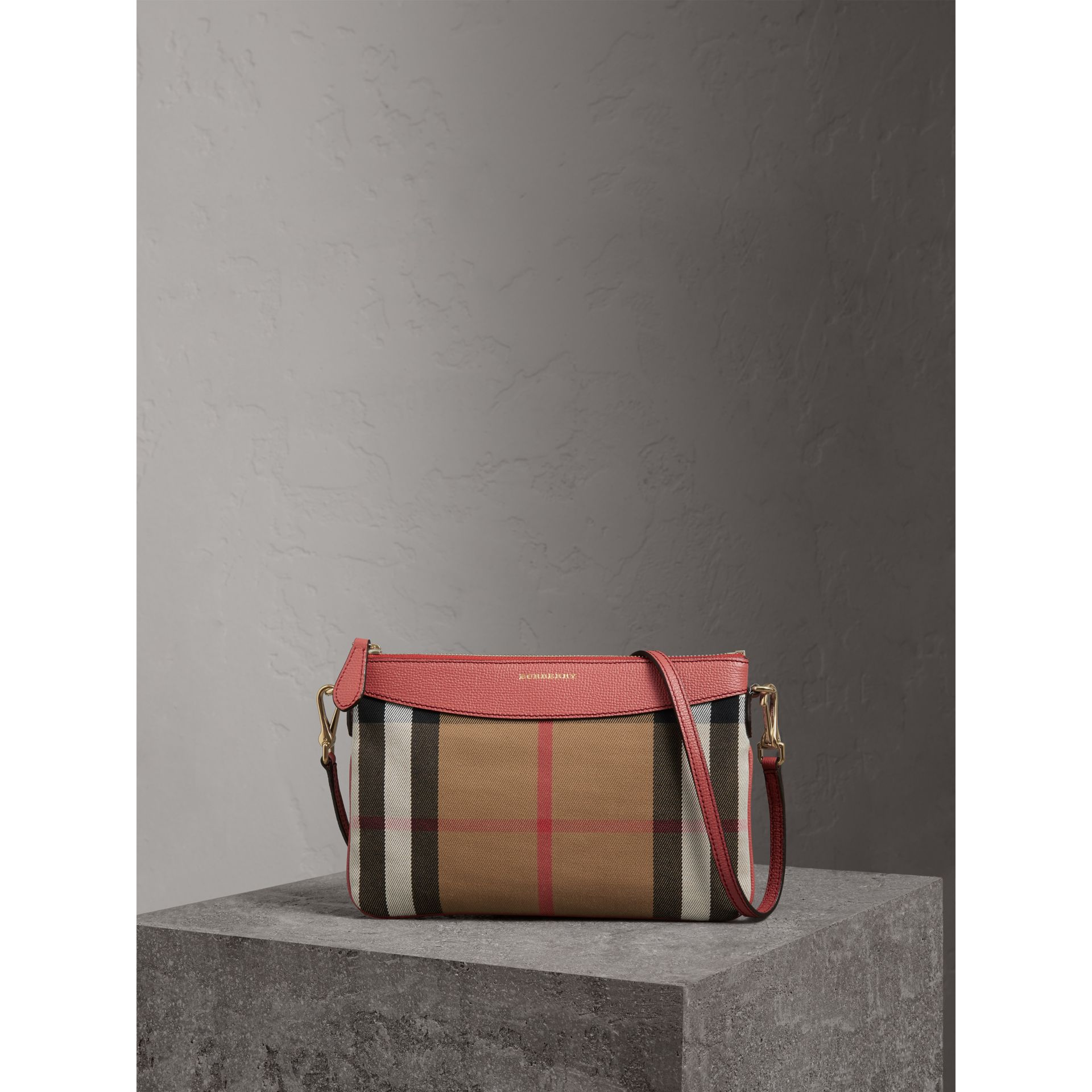 57d40135bb23 Burberry Haymarket Check And Two-Tone Leather Clutch Bag In Red ...