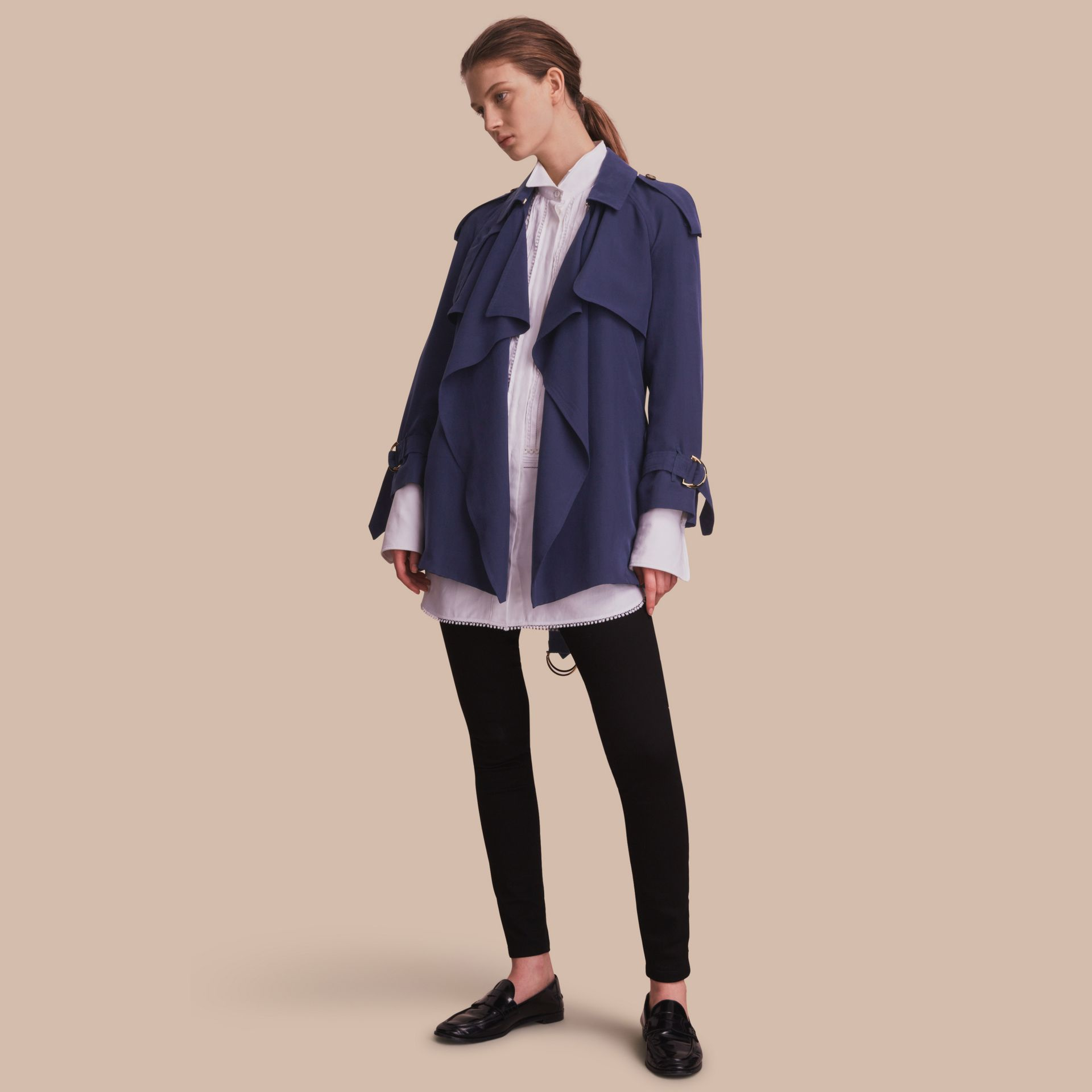 Silk Wrap Trench Coat Navy - gallery image 1