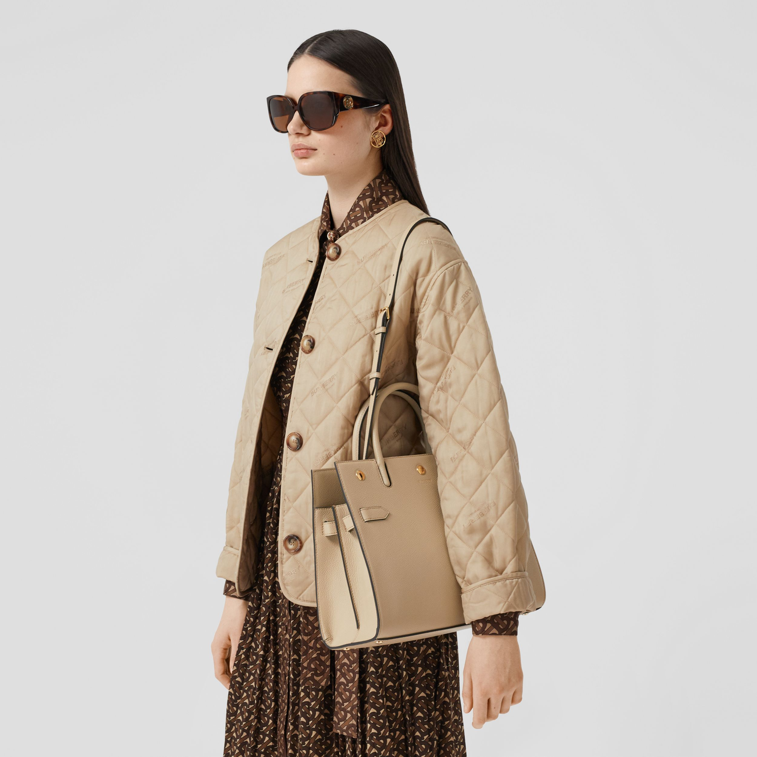Small Leather Two-handle Title Bag in Light Beige - Women | Burberry Singapore - 3