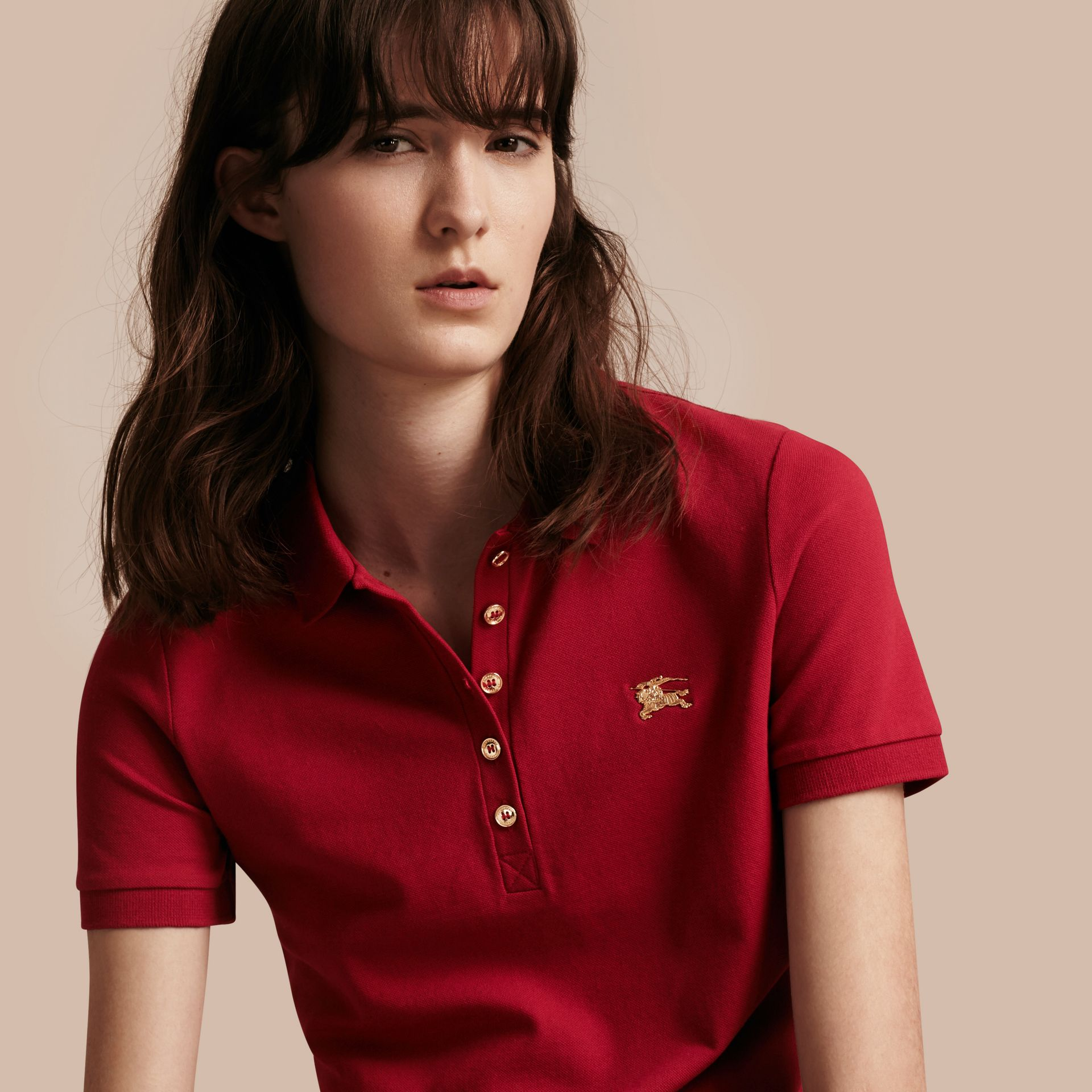 Military red Stretch Cotton Piqué Polo Shirt Military Red - gallery image 1