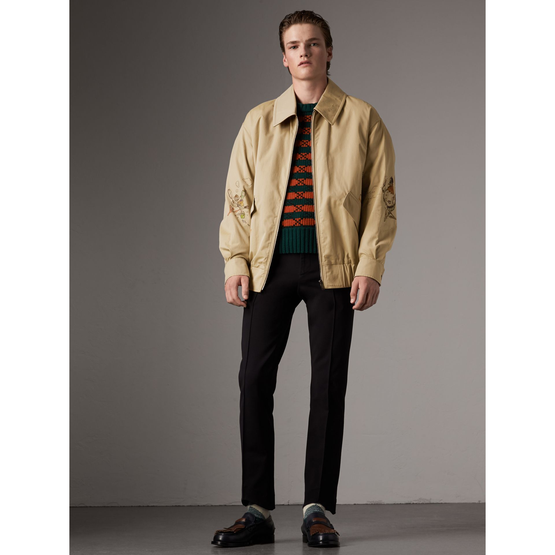 Sketch Print Cotton Gabardine Harrington Jacket in Honey - Men | Burberry - gallery image 0