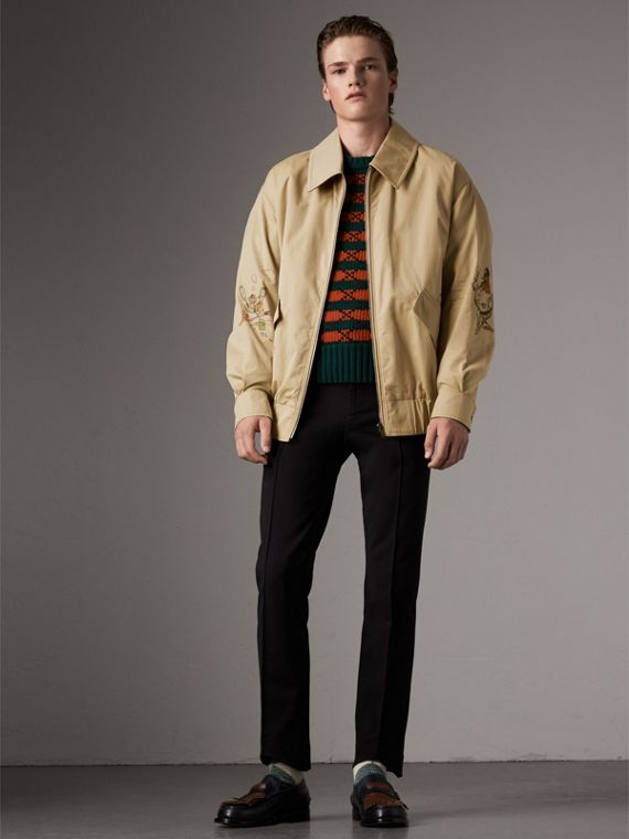 Sketch Print Cotton Gabardine Harrington Jacket in Honey