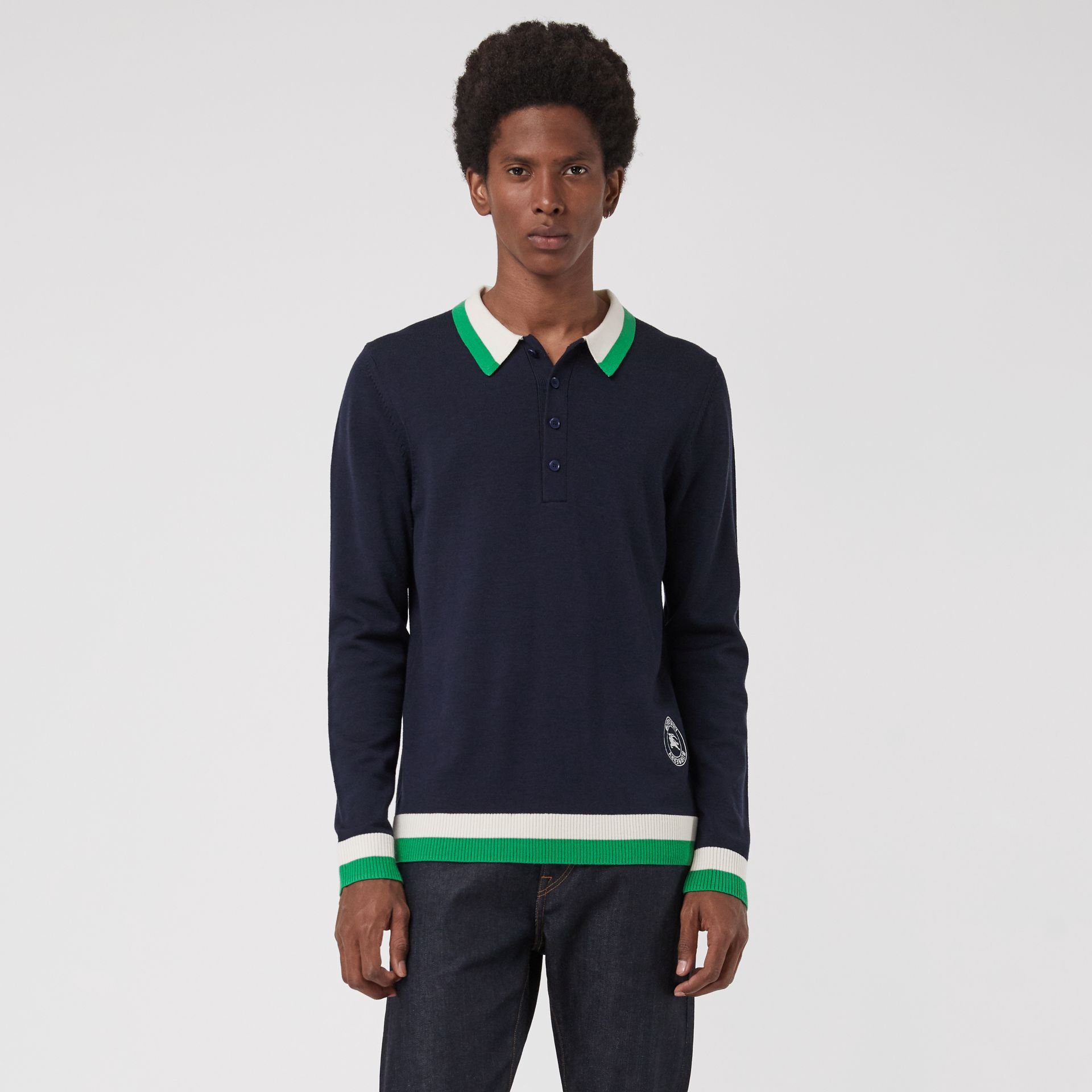 Stripe Detail Merino Wool Long-sleeve Polo Shirt in Navy - Men | Burberry - gallery image 0