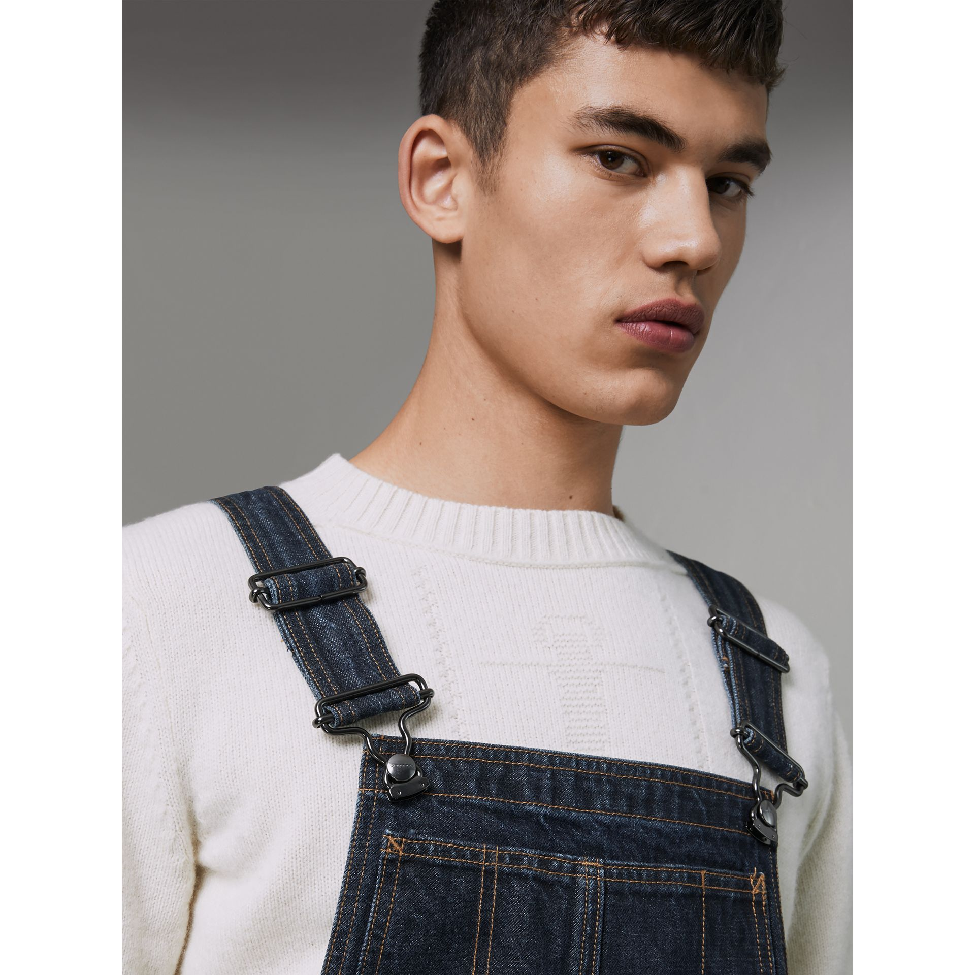 Marble-wash Denim Dungarees in Dark Indigo - Men | Burberry - gallery image 1