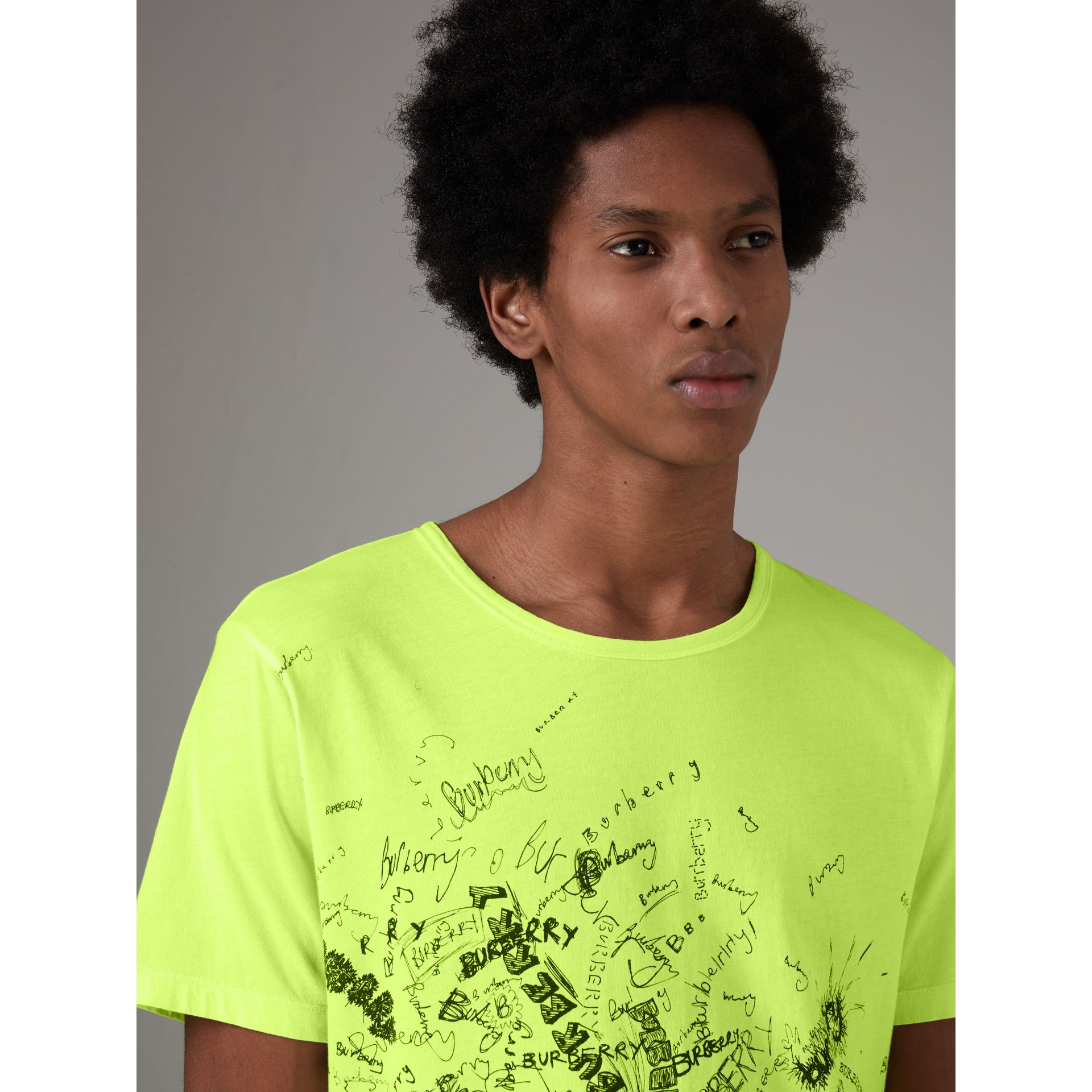 Doodle Print Cotton T-shirt in Bright Lemon - Men | Burberry - gallery image 1