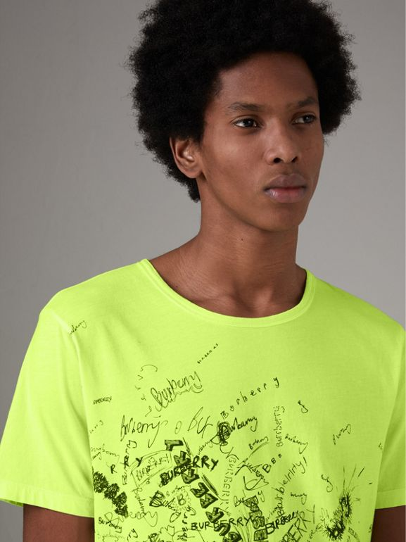 Doodle Print Cotton T-shirt in Bright Lemon - Men | Burberry United Kingdom - cell image 1