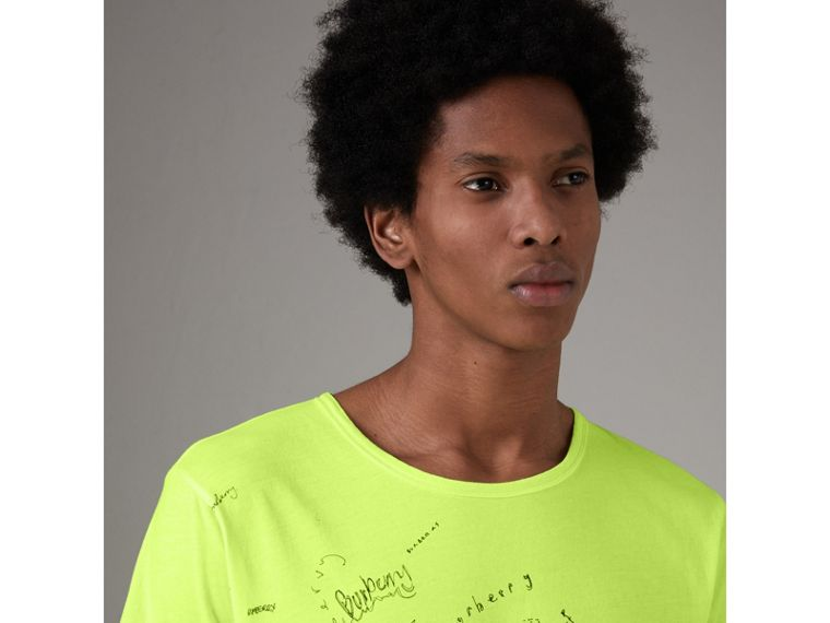 Doodle Print Cotton T-shirt in Bright Lemon - Men | Burberry - cell image 1