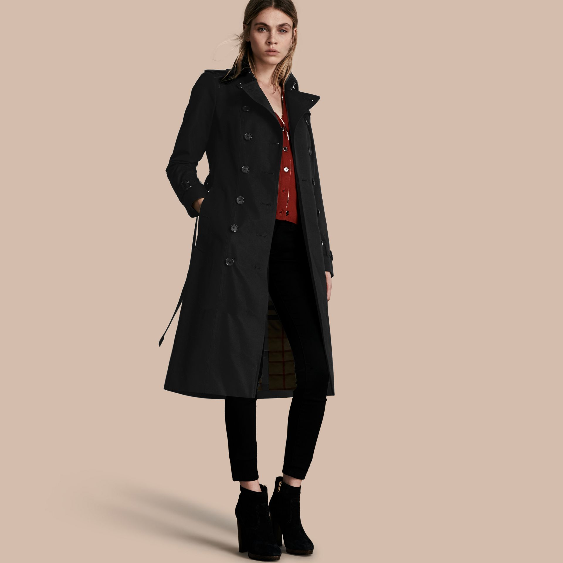 Black The Sandringham – Extra-long Heritage Trench Coat Black - gallery image 1