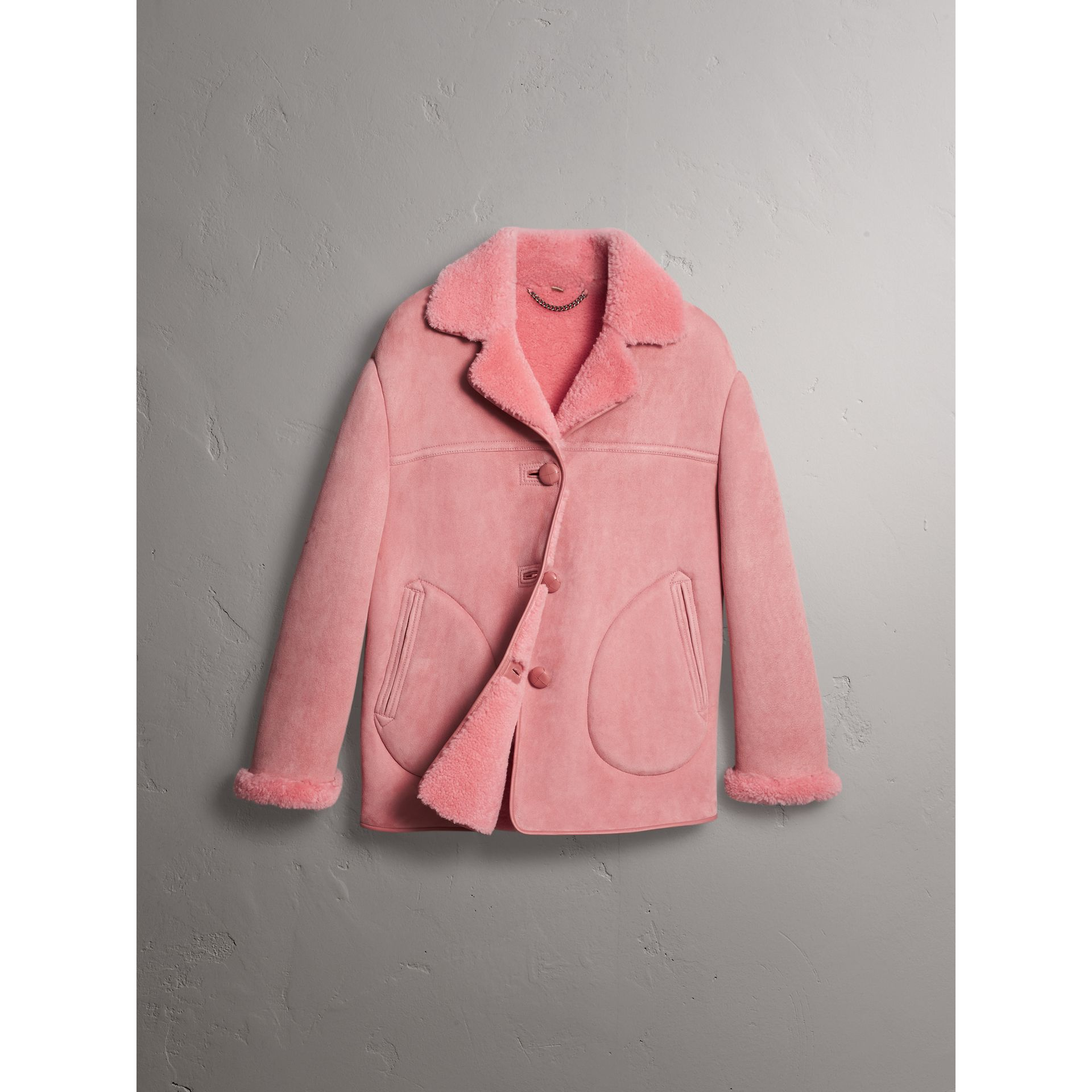 Leather Trim Shearling Oversized Jacket in Copper Pink - Women | Burberry Singapore - gallery image 3