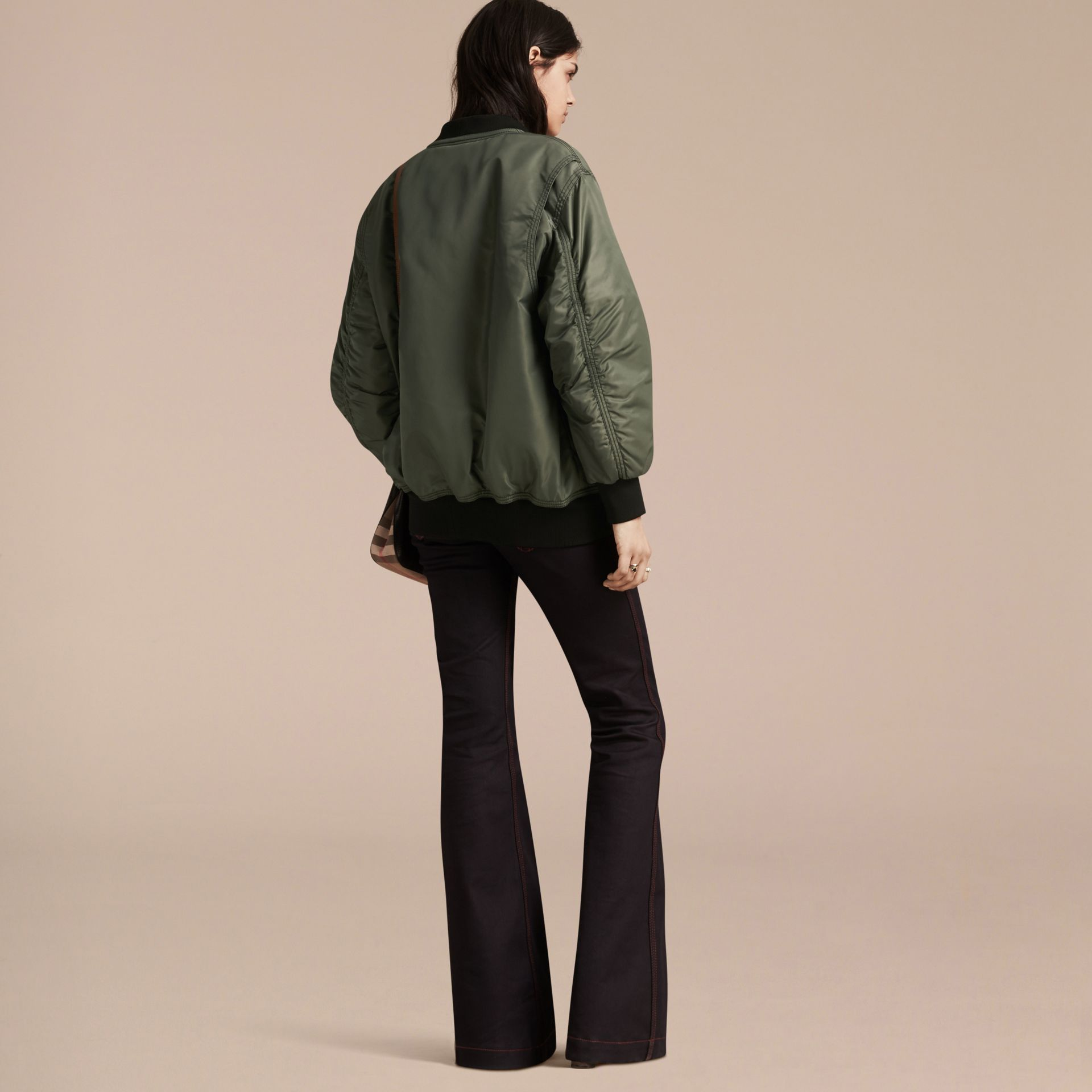 Khaki green Oversize Water-repellent Bomber Jacket - gallery image 3