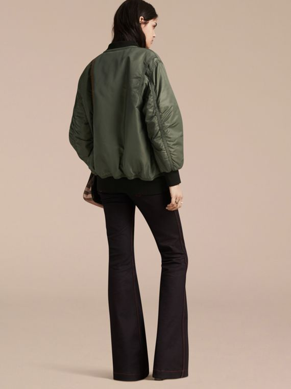 Khaki green Oversize Water-repellent Bomber Jacket - cell image 2