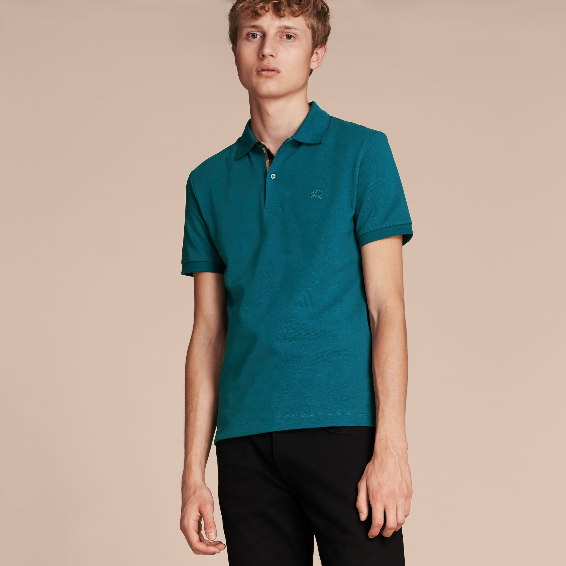 Check Placket Cotton Piqué Polo Shirt in Mineral Blue - gallery image 6
